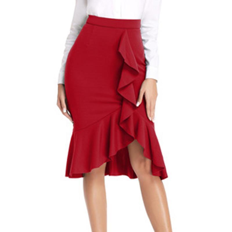 4b8dbac16559 Nuevo 2019 Falda de cola de pescado elástica Elegante Cintura alta  Irregular con volantes Sexy Bolsa Cadera Falda Señora de la oficina Faldas  hasta la ...