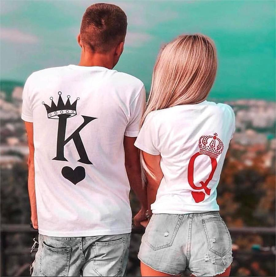 50cd3f3e8 King Queen Couple Valentine's Day Gift Tshirt,Funny O-neck White Letter  Print Matching Summer Tops,Lovers Tee Shirt 2019 New
