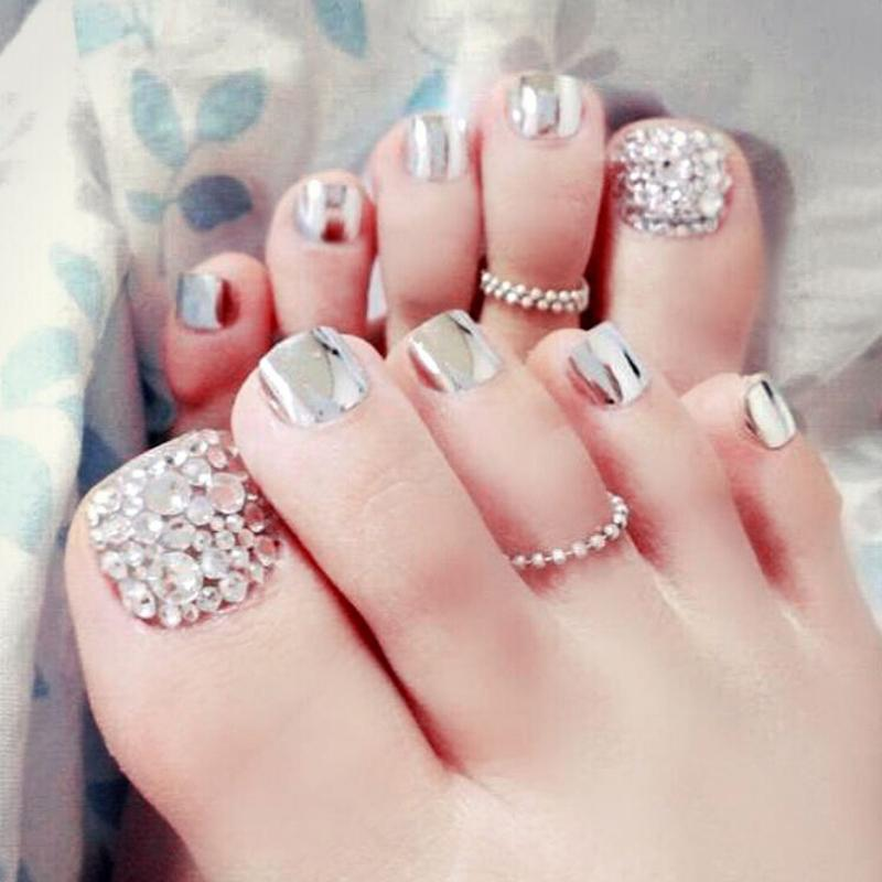 Hot Sale 24 Pcs/Lot Toenails With Diamond Heart Metal Decoration Flash Toenails Tips Decoration Designed Fake Foot Nails