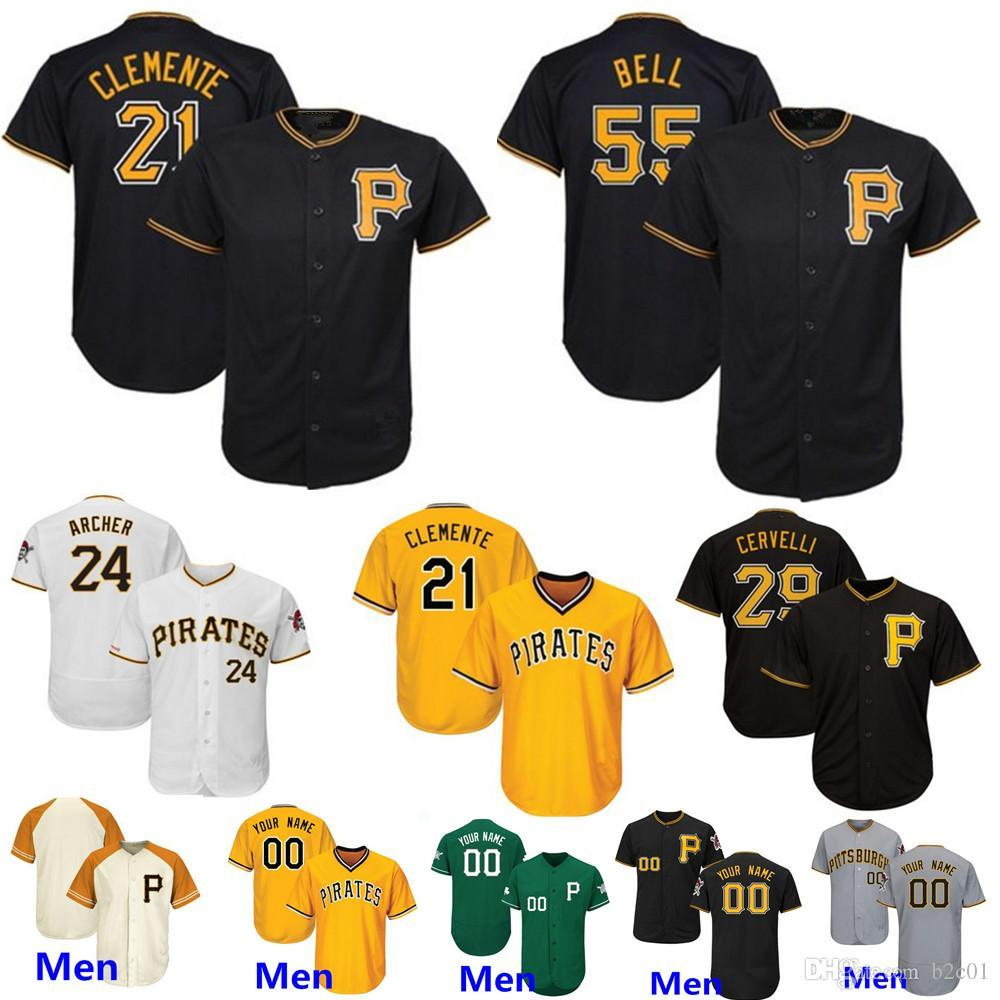 newest 522e9 aa541 Custom Pirates Chris Archer Jersey Pittsburgh Willie Stargell Clemente Josh  Bell Marte Tekulve Cervelli Taillon Dickerson Frazier Men