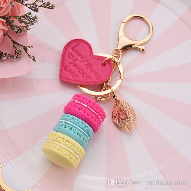 Women New Macaron Cake keychain PU love alloy leaf Key Chain Charm Bag  pendant Key Ring Best Party Gift Jewelry
