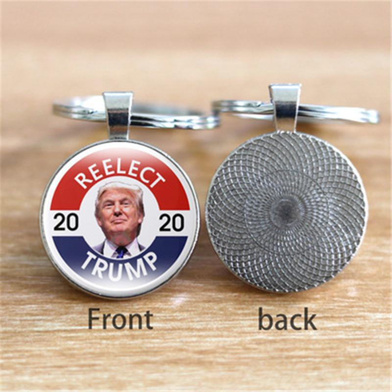 6 Styles Donald Trump President 2020 Keychain Souvenir Trump 2020 USA Flag Keep America Great Printed Glass Car Key Ring Keyfobs M213Y