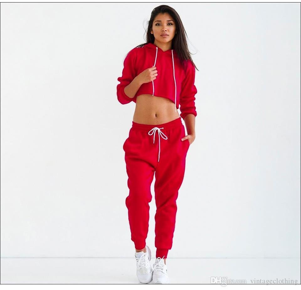 Acheter Survêtements Femmes Solide Noir Rouge Sexy Femmes Casual Costume  Pull Avec Pantalon Jogging Ensemble Survêtements De  85.43 Du  Vintageclothing ... 898f2731f16