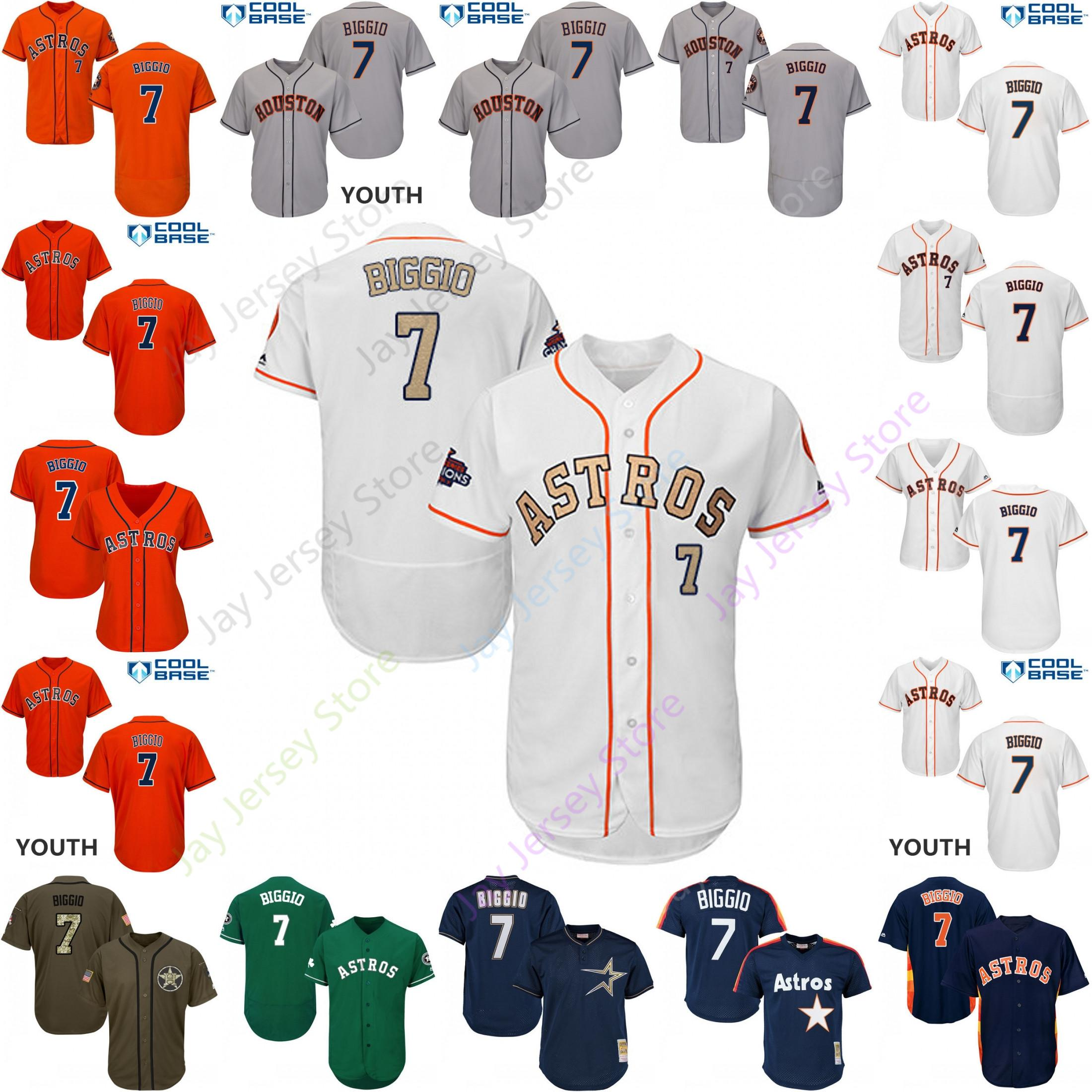cheap for discount fa875 2b224 Custom Houston 7 Craig Biggio Jersey Astros Jerseys Cooperstown Cool Base  Flexbase White Black Red Grey Home Away Men Women Youth Cheap