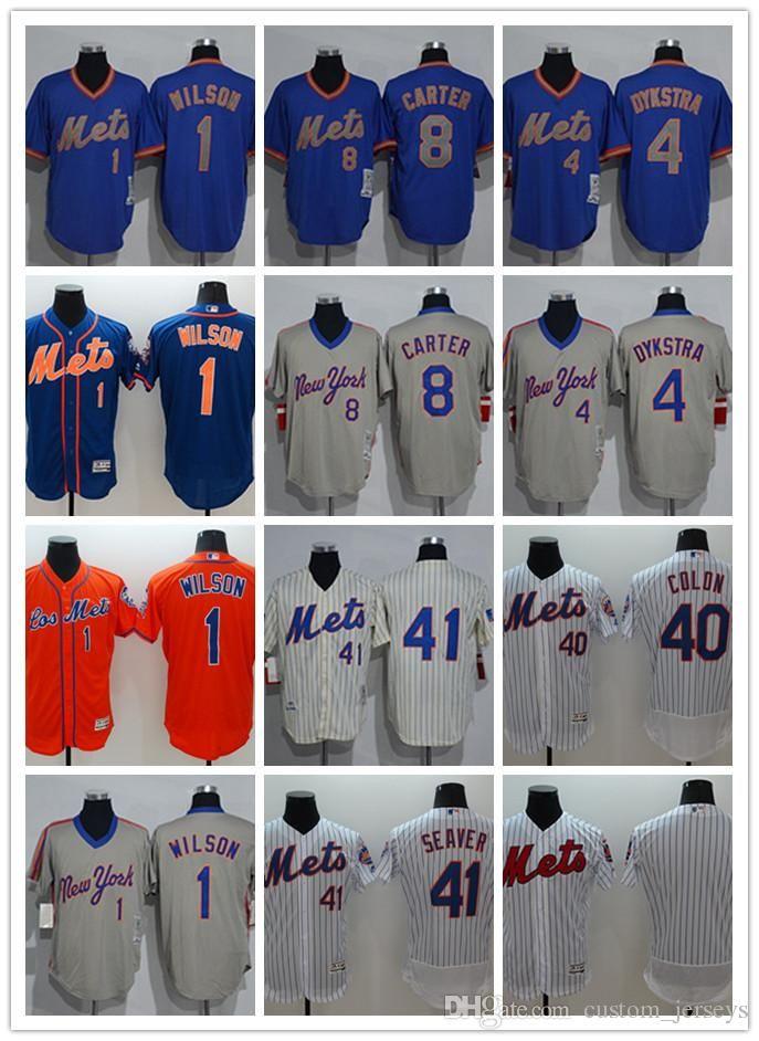 pretty nice 8d0e6 de4de Men women youth New York custom Mets Jersey #1 Mookie Wilson 4 Dykstra 8  Gary Carter 40 Bartolo Colon 41 Tom Seaver Baseball Jerseys