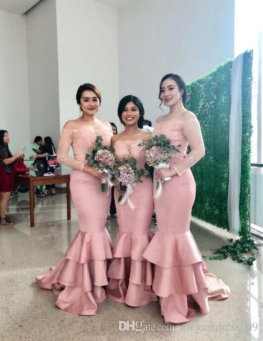 Blush Pink 2019 New Off Shoulder Mermaid Bridesmaid Dress 3/4 Sleeves Long Formal Maid of Honor Gowns Wedding Guest Dress Tiered