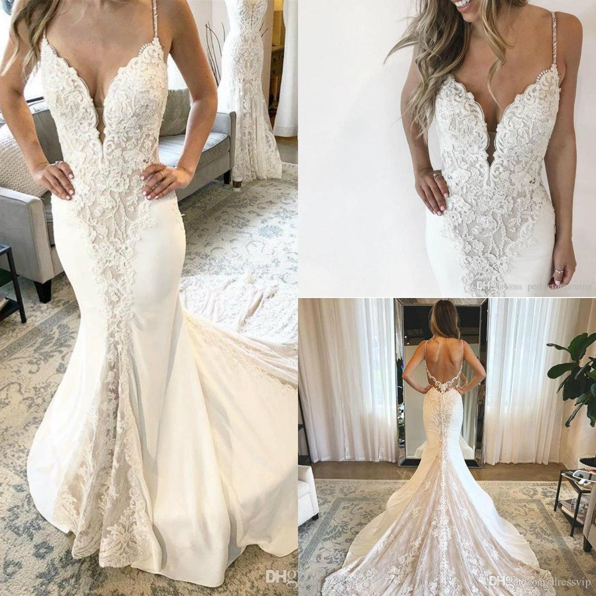 2019 Lace Mermaid Wedding Dresses Spaghetti Lace Appliqued Beaded Sweep Train Bohemian Wedding Dress Backless Plus Size Bridal Gowns