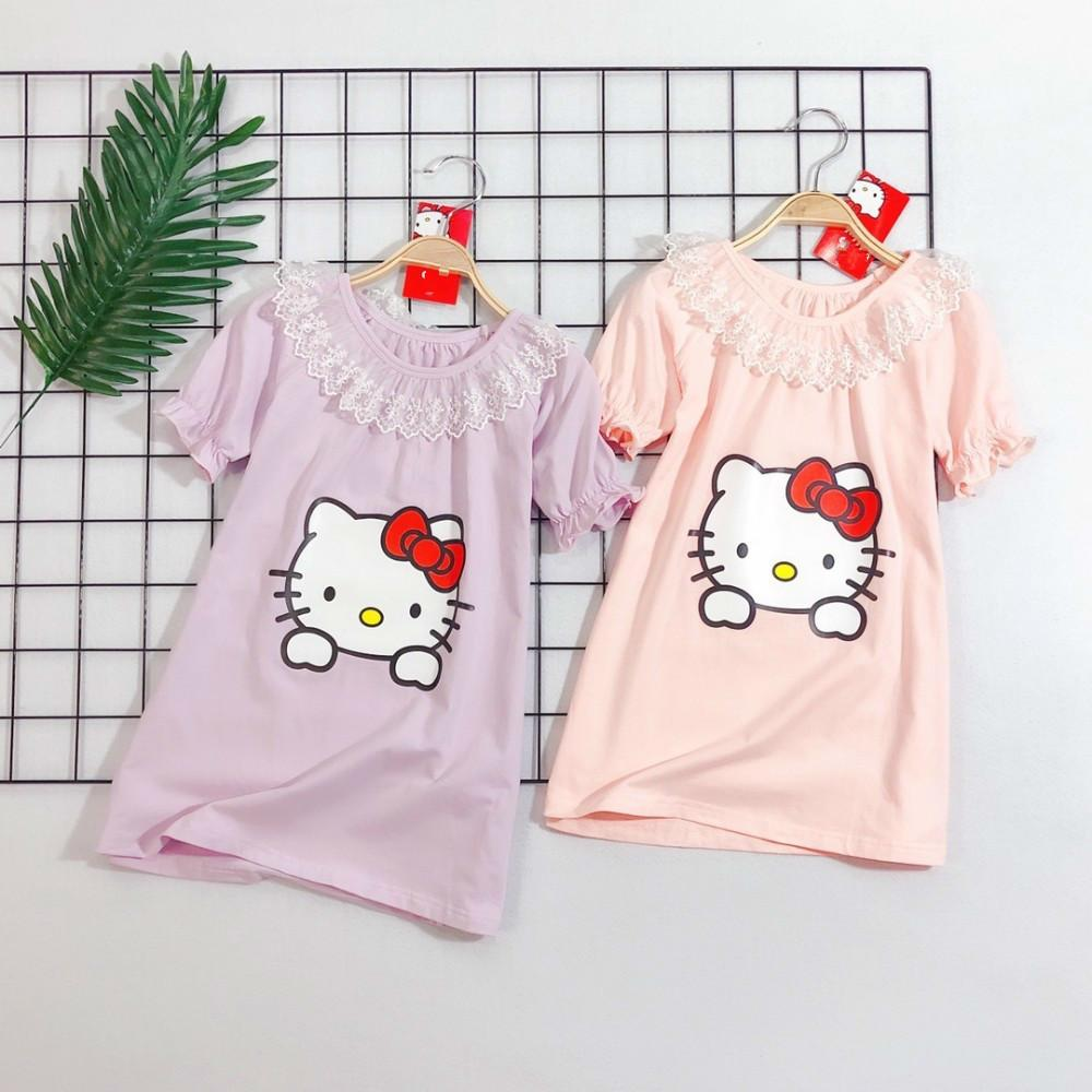 2d21a0c68 Children's wear girl pajamas baby dress Short sleeve 2019 new products  Wholesale prices Cat pattern No fading Can't afford the ball fun