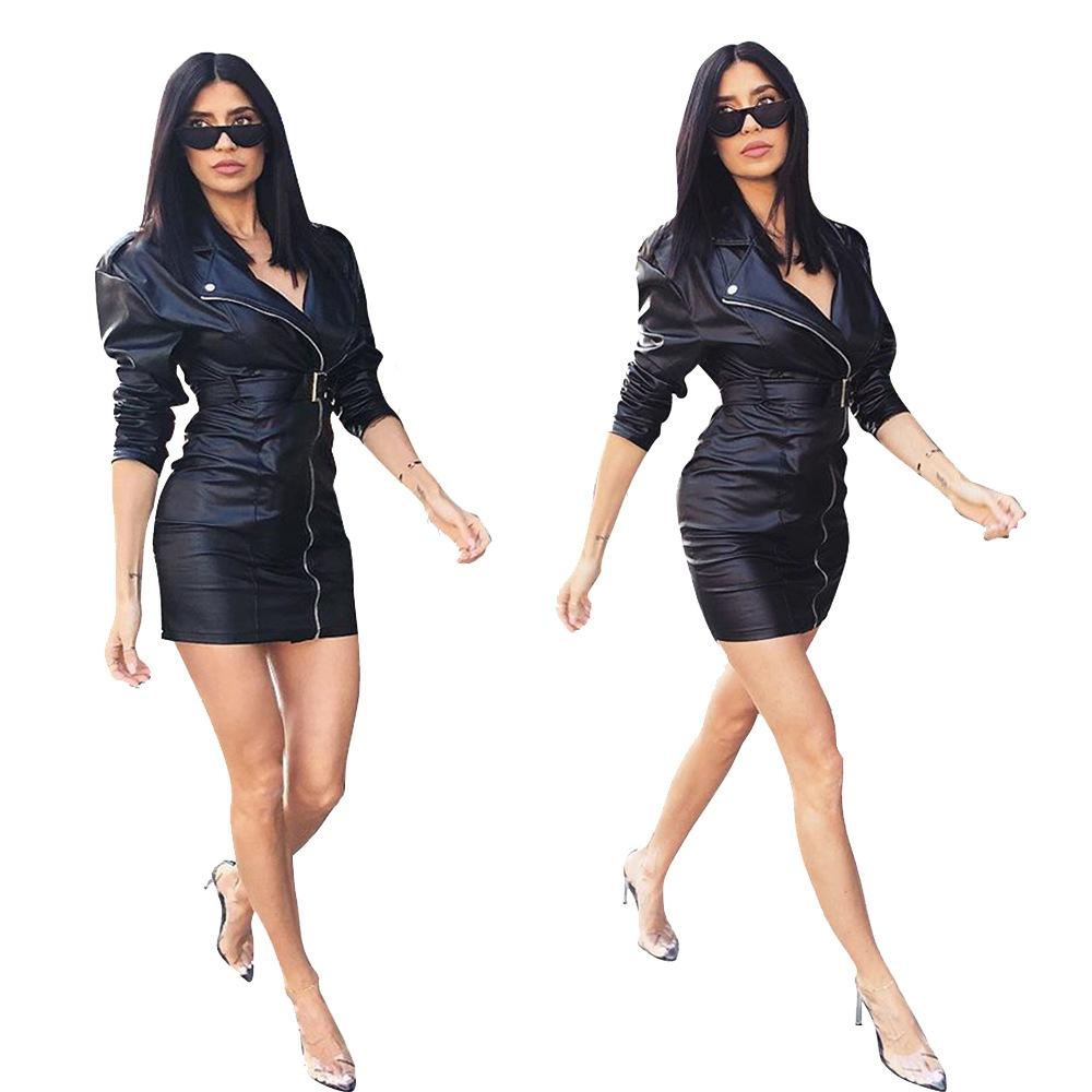 3c238eba51 Compre Vestidos De Trabajo De Piel Sintética Negro Mujeres Elástico Cuero  De La PU Cierre De Cremallera Cuello Cuadrado Slim Fit Mini Vestidos De  Oficina ...