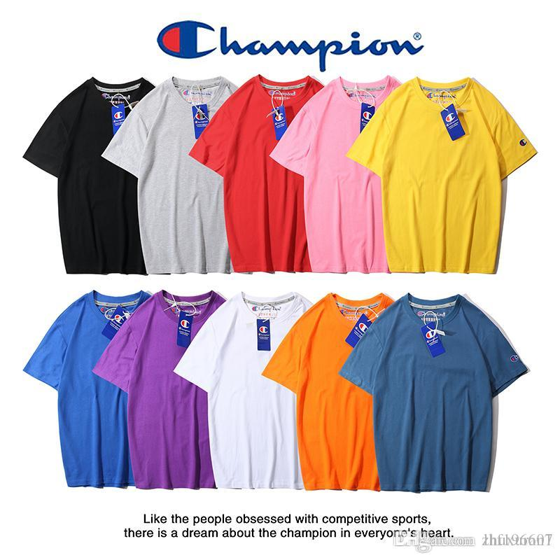 d9a4c0e57bd7 F1100 with wash mark + anti-counterfeit buckle ch‍ampion printed solid color  short-sleeved t-shirt 10 colors Size S-XXL