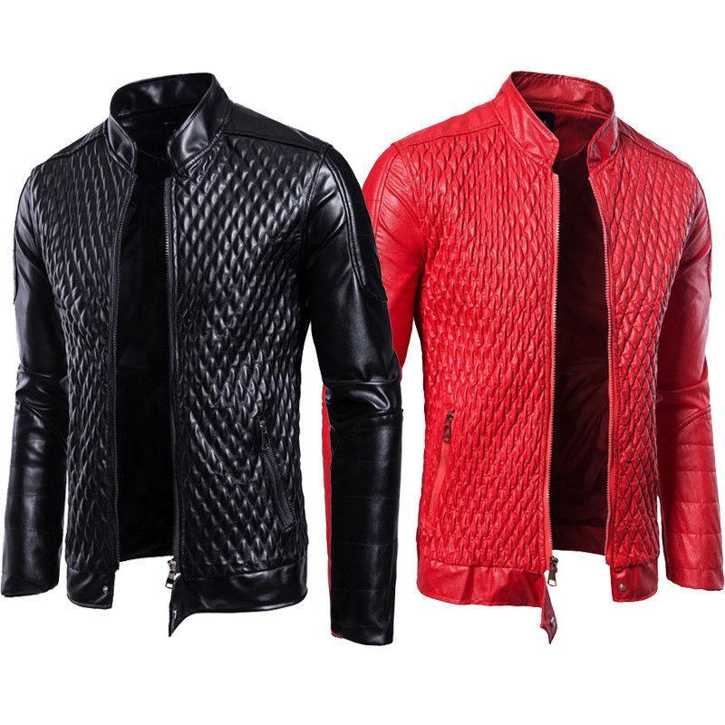 Hombres 2018 Otoño Moto Chaqueta de cuero Slim Fit Bolsillos con cremallera Elegantes Abrigos frescos Tops M 2XL