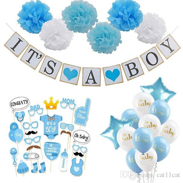 2019 Baby Shower Boy Girl Decorations Set It S A Boy From Cat11cat