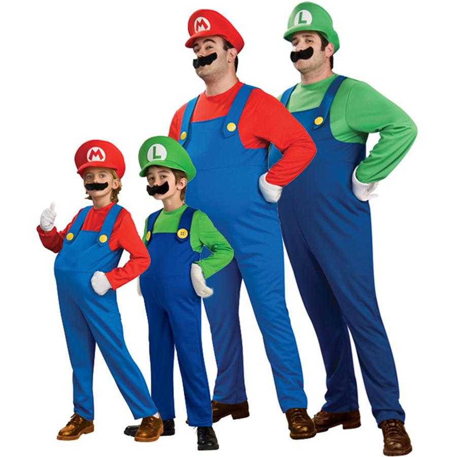 Adult Children Halloween Cosplay Costume Super Mario Luigi Brothers Plumber Fancy Party Costume 3pcs 1set Romper +Hat +Beard RRA855