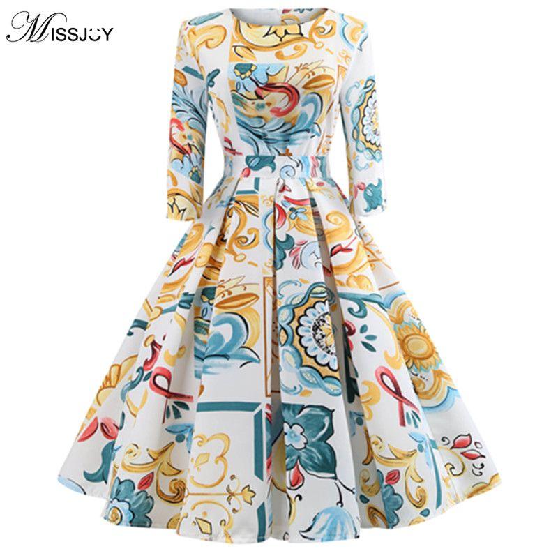ec5f9fc9517 MISSJOY 2018 Vintage Sukienki Belt Flower Lemon Print Big Swing Party Dress  Elegant Vadim Women Autumn Winter Vestidos De Fies Online with  45.45 Piece  on ...