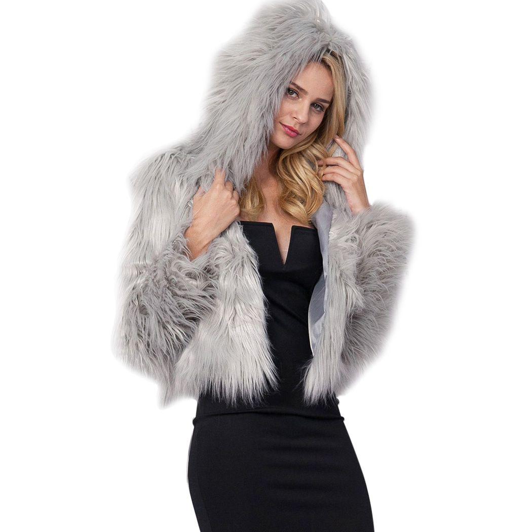 Hooded Faux Fur Coats Women Parka Overcoat Warm Leather Thick Jacket With Sash Women Coat Plus Size Faux Fur Women's Clothing