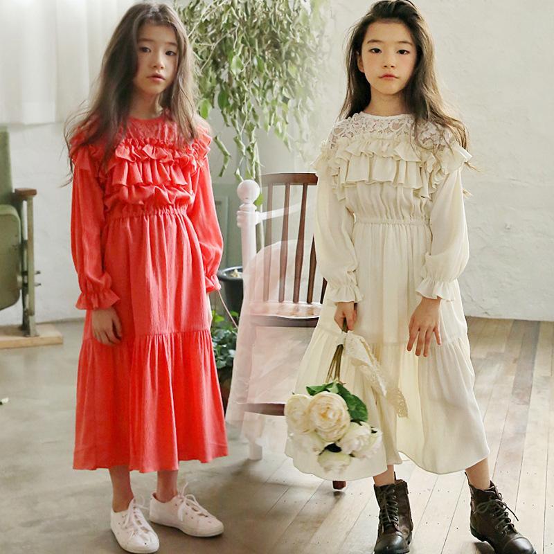 Brand Girl Lace Dresses 2019 New Spring Girls Baby Vestido De Manga Larga Princesa Toddler Dress Vestidos Para Niños Maxi Long 3944 J190505