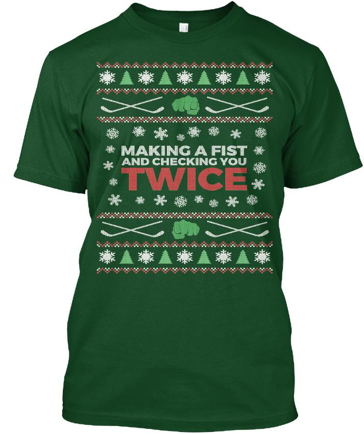 ef0584845 Mens Designer T Shirts Shirt Hockeyer Ugly Christmas Sweater Making A Fist  And Checking Premium Tee T Shirt T Shirt Prints T Shirt Designing From  Es99, ...