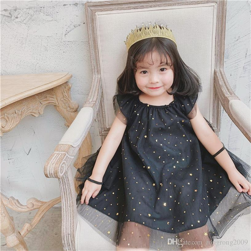Retail 2019 Summer New Baby Girl Fairy Dresses Black White Star Wing Princess Sundress Children Clothing E1962