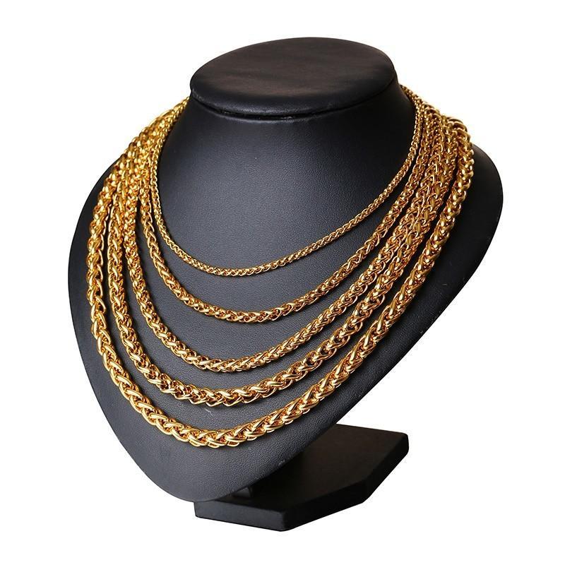 3e086a6228dd Compre Collar De Los Hombres De La Cadena De Cuerda Triple De Color Oro De  Acero Inoxidable 24 Collar De Los Hombres De La Cadena De Cuerda Triple De  Color ...