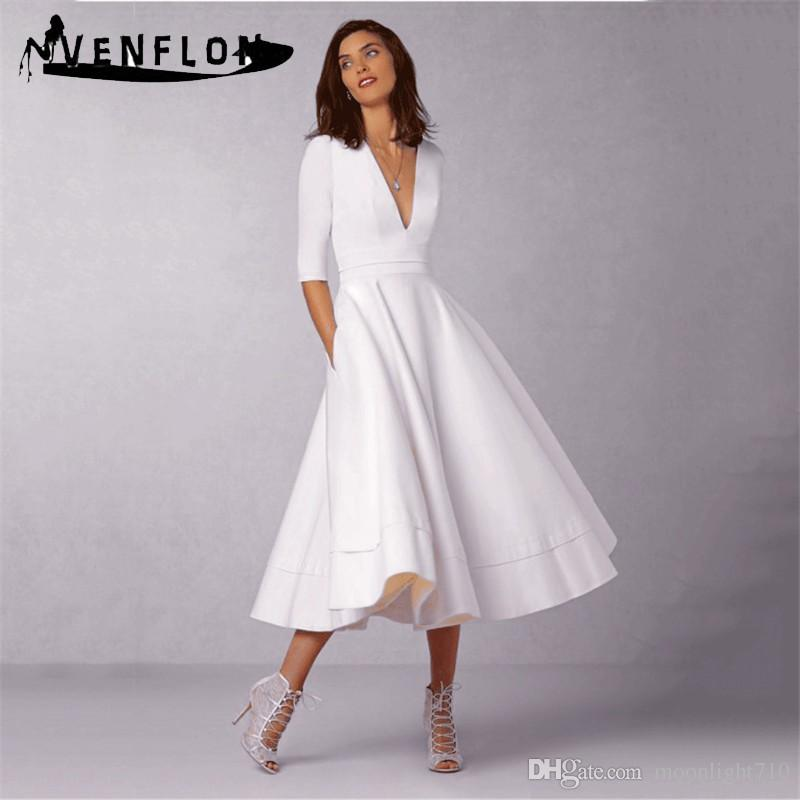 92706782a81 Vintage Spring Summer Dress Women Casual Plus Size Elegant Long Party Dress  Female Sexy V Neck Ball Gown White Dresses 3XL Party Dress Junior Women  Dress ...