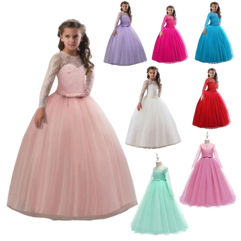 de35b63a34d7 Vestido de encaje de niña de tul largo 3-15 años Vestido de fiesta para  niña Elegante Verano para niños Ropa Princesa Boda Vestidos infantiles para  ...