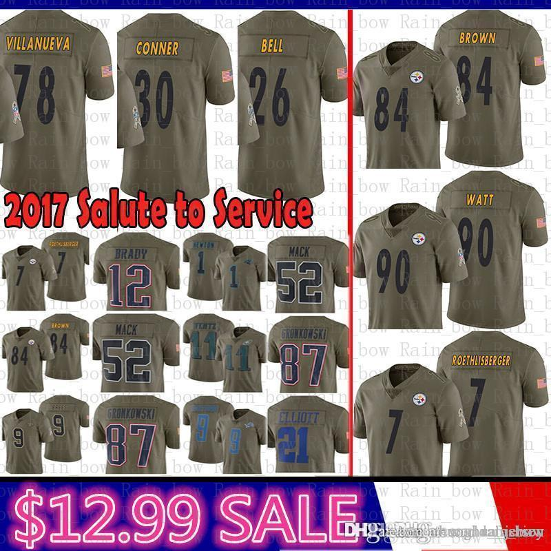 new style 0fa45 2b478 best Pittsburgh Steelers 2017 Salute to Service 84 Antonio Brown Jersey 90  T.J. Watt 7 Ben Roethlisberger 26 Bell 78 Villanueva James Conner