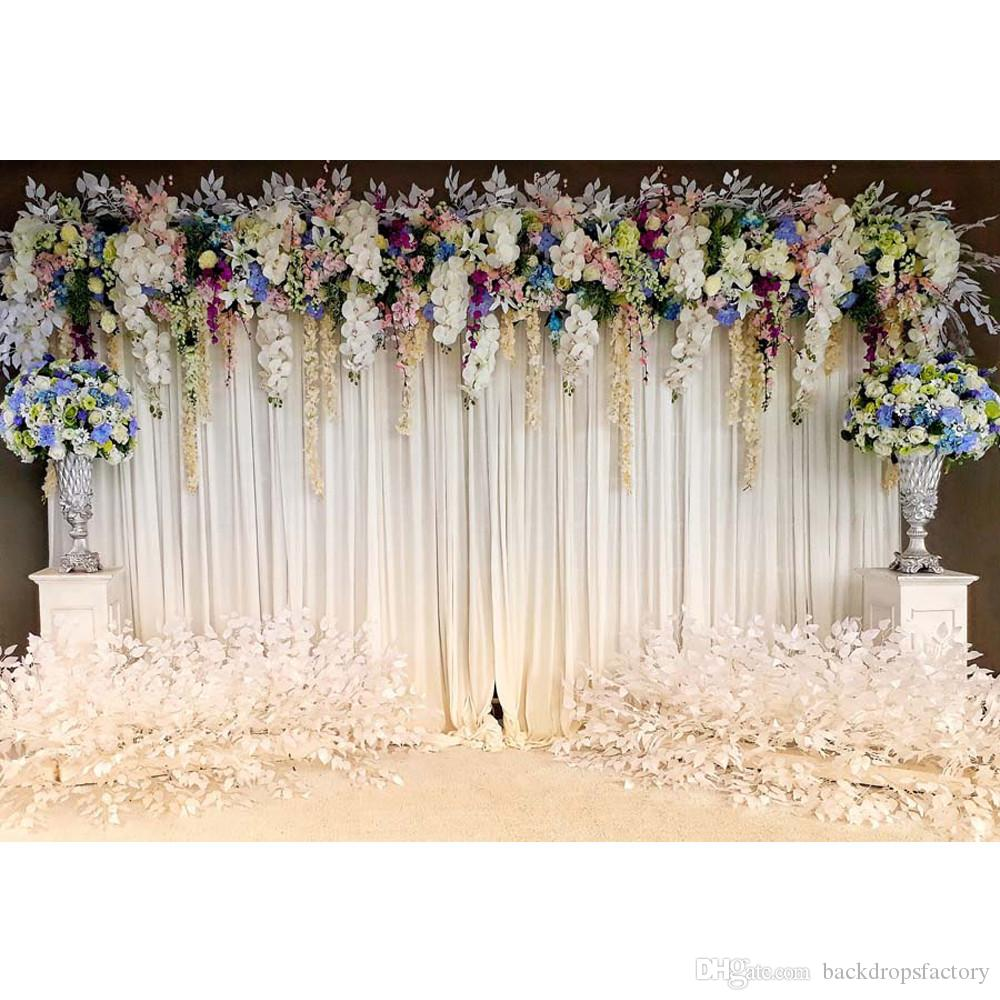 2019 White Curtain Wall Wedding Floral Photography
