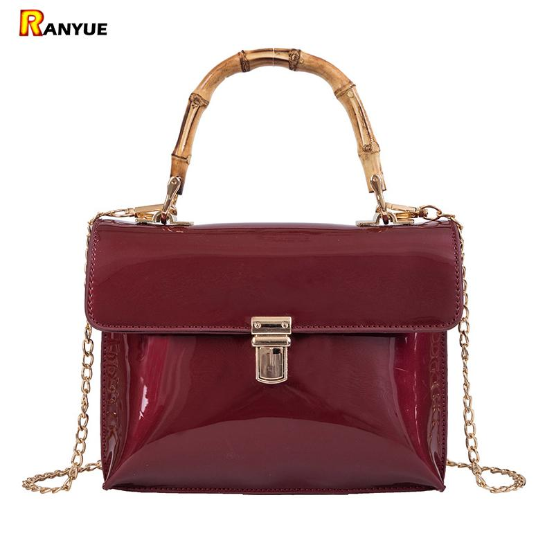 ca188b7840a6 Luxury Woman Bag Patent Leather Women Handbags Bamboo Handles Tote Bags For  Women Purse Chain Shoulder Messenger Square Bag Red