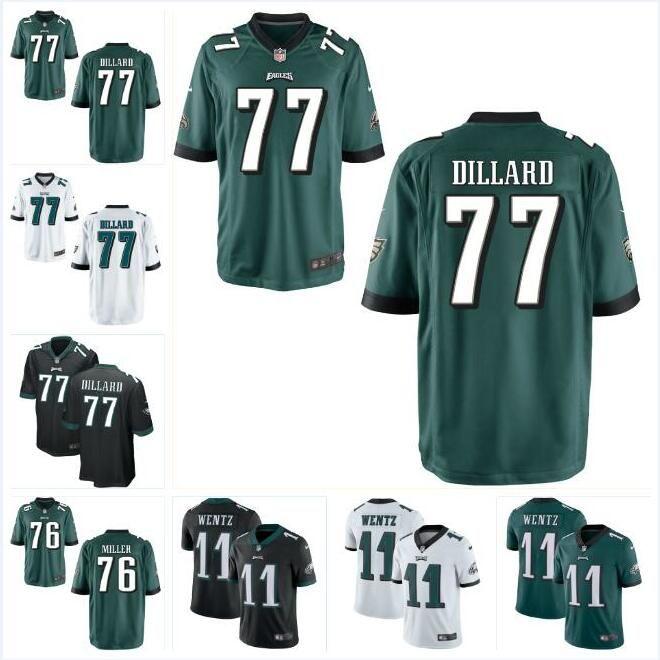 newest ee2a0 d6f64 #77 Andre Dillard Carson Wentz Eagles Jersey Philadelphia Zach Ertz Miles  Sanders Brian Dawkins custom american football jerseys youth kids