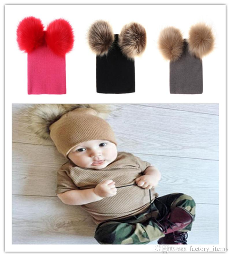 863cb9ad004 2019 2019 INS Baby Kids Double Fur Ball Beanie Boys Girls Fuzzy Crochet  Hats Ski Cap Pom Beanies Winter Warm Pom Pom Hat Children Party Hats Hot  From ...