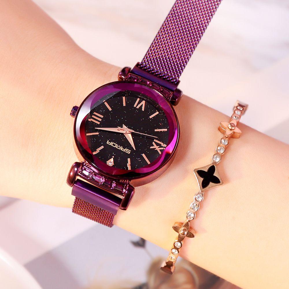 50ccfa6882d Compre 2018 Pulsera Magnética Cristalino De Lujo Relojes De Mujer Números  Romanos Reloj De Mujer Creativa Rosa De Oro Chica Reloj Mujer Mujer A   30.92 Del ...