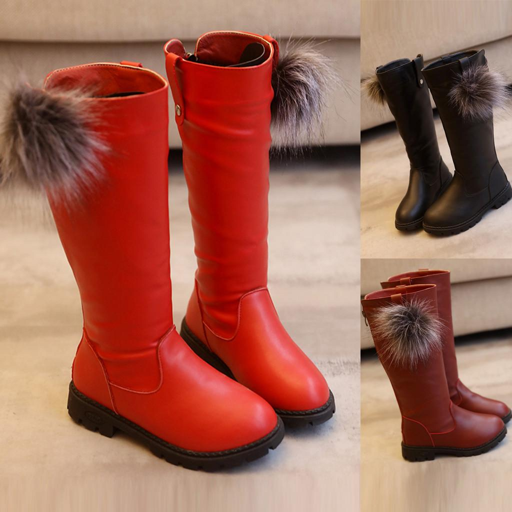 MUQGEW Girls Knee-high Boots Children Winter High Top Princess Shoes for Girls Fashion Fur Ball Leather Warmer Boots Booties