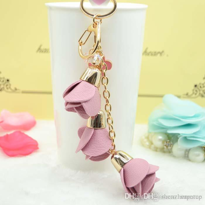 2018 new charm fashion leather rose flower key chain cute tassel flower key chain women keychain female bag pendant jewelry