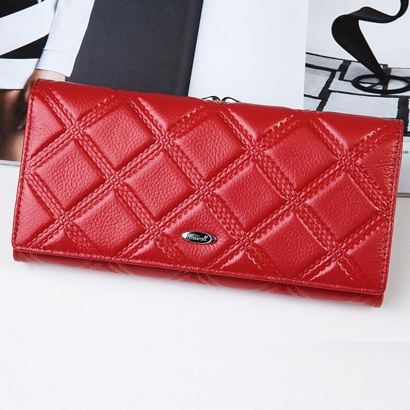 ef6be5a743a Satın Al Wholetide Kırmızı Moda Kadın Cüzdan Hakiki Deri Bayan ...
