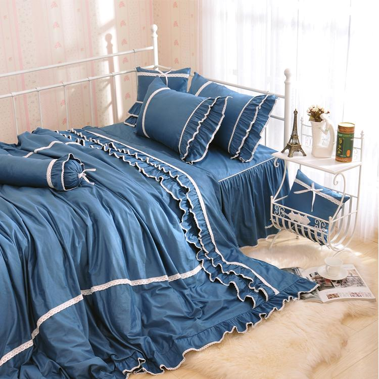 2017 New Contracted Korean Bedding Sets, Beautiful Blue Bedding Bag, 100%Cotton Pure Color Falbala Bed Skirt.