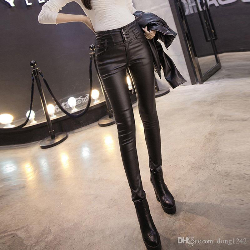 4c824ac39f 2019 Autumn Winter Women Tight Leather Pants Warm Plus Velvet Trousers  Leggings From Dong1242, $37.18 | DHgate.Com