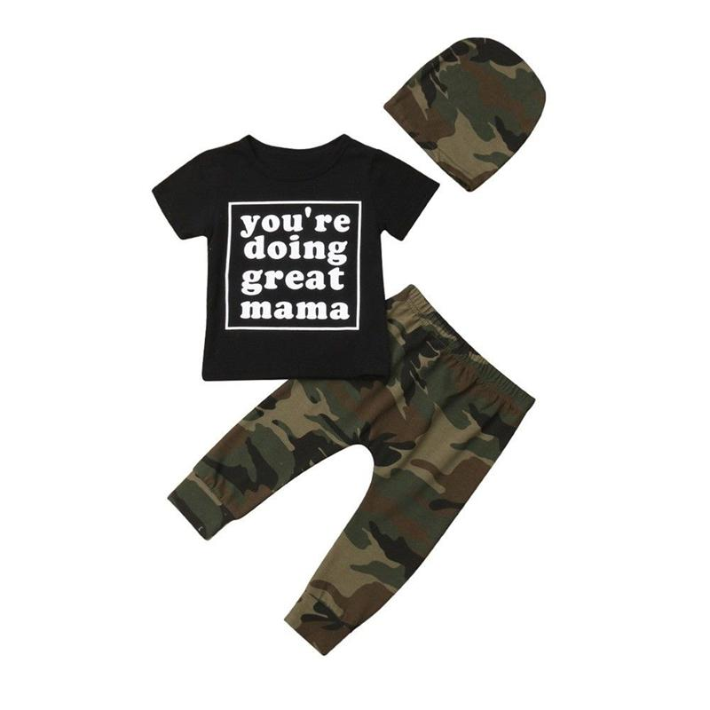 178ee98cd5f4b 3PCS Baby Boy Girl Camo Clothes Set Summer Black Letter Printed T-Shirt Tops +Camouflage Long Pants Infant Kids Outfits Set 6M-3Y