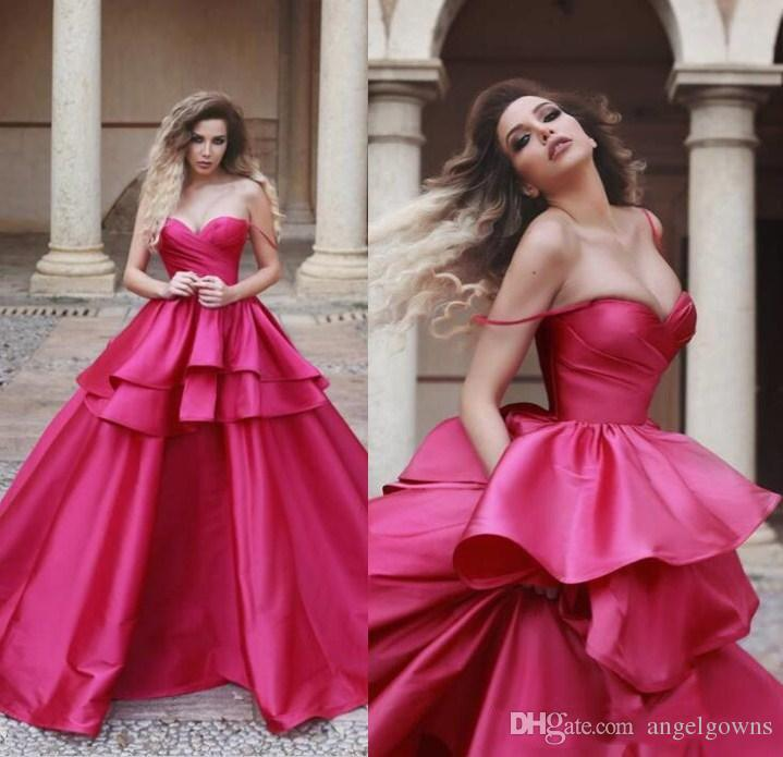 cc60157135b0 Gorgeous Fuchsia Prom Dresses Layers Puffy Tiers Skirt 2019 A Line Saudi  Arabia Long Evening Gowns Sexy Spaghetti Straps Party Dress Cheap Prom Dress  Cheap ...