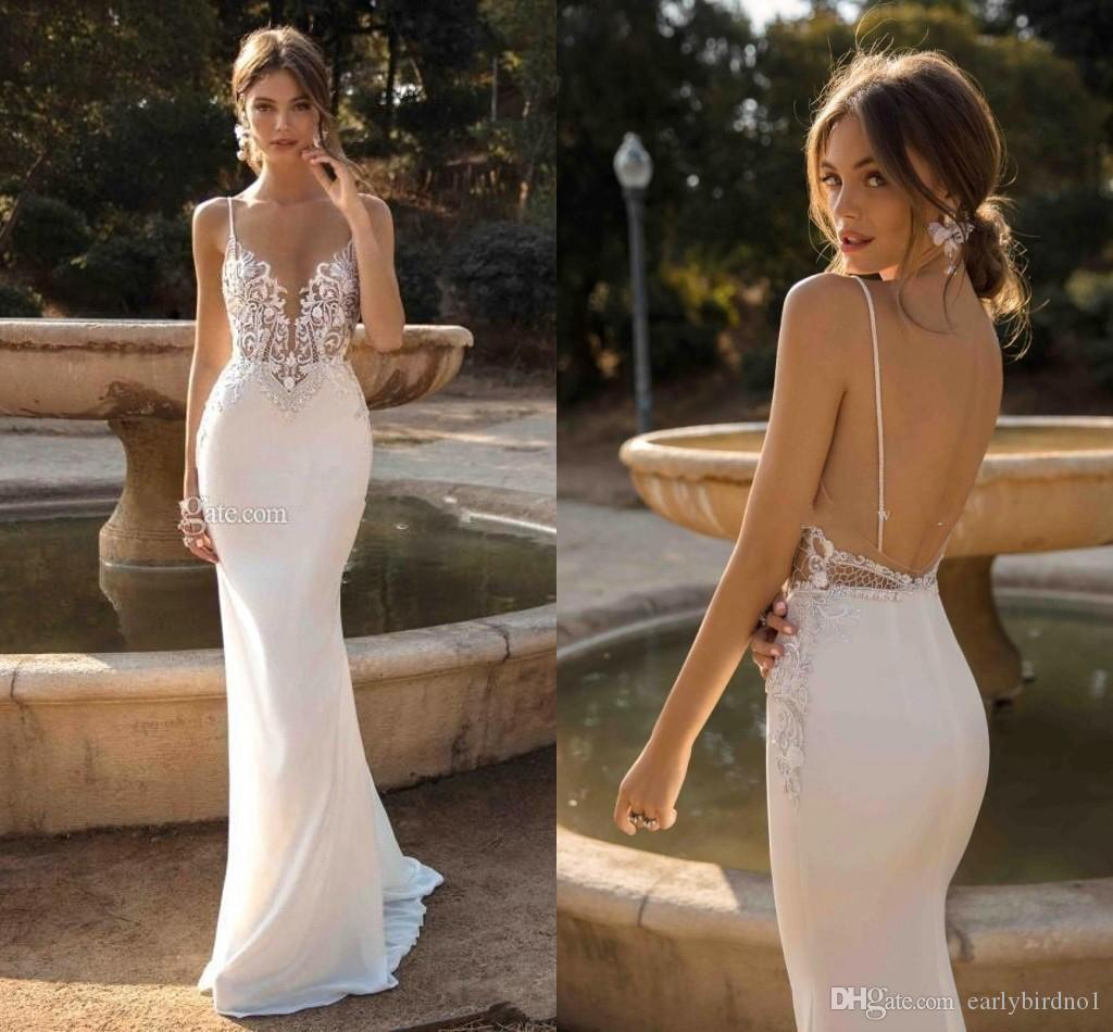 2019 Custom Made Berta Mermaid Backless Wedding Dresses Plunging Neck Beaded Beach Lace Bridal Gowns Bohemian Plus Size Vestidos BC1345