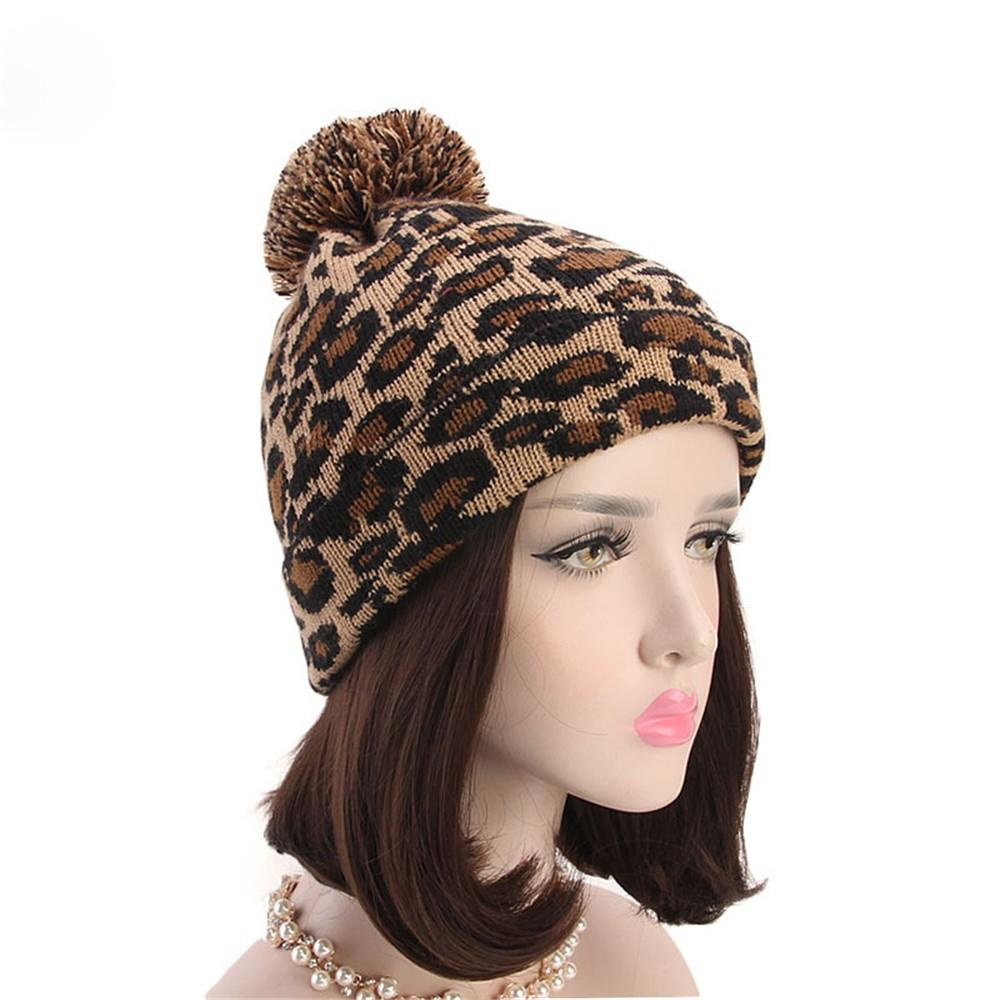 3b52f0d4d8cc Fashion Women Leopard Faux Fur Ball Winter Warm Crochet Knitted Hat Cap  Beaniewoman's hat with pomponcap with straight visor