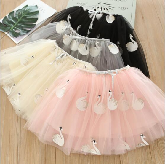 fbed8403460c Multi Colors All-match New Embroidery Swan Girl Summer Tutu Princess ...