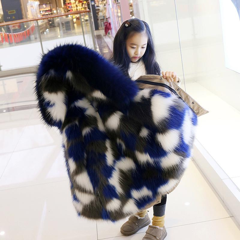 78adc8703 Children Winter Coat 2018 Boys Girls Faux Fox Fur Jacket Thick Warm ...