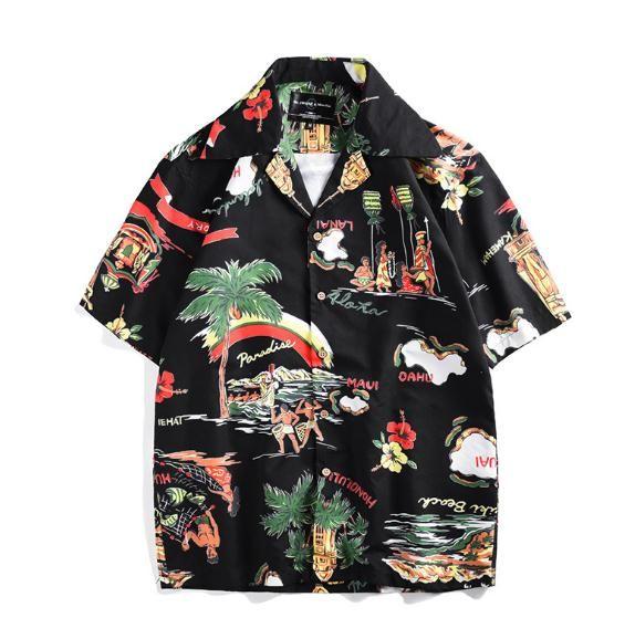 c6448b88 2019 Hawaiian Shirt Clothing 2019 Summer New Creative Island Printing Short  Sleeve Shirts Seaside Holiday Casual Loose Cardigan Shirts Tops From ...