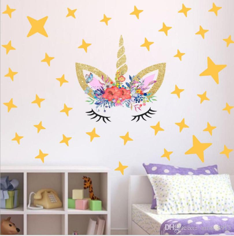 Creative Unicorn Stars Wall Stickers For Girls Bedroom Flowers Wall Decals  Gold Pink Polka Dots Decor