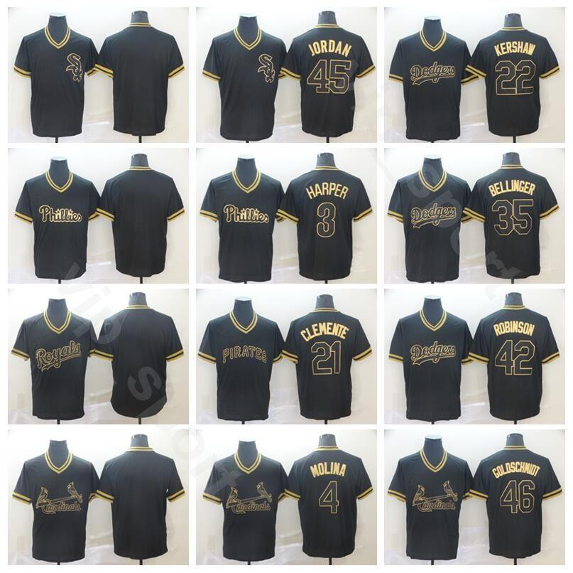 wholesale dealer 4a81e b5a11 Baseball Black Gold 27 Mike Trout Jersey Men 19 Charlie Blackmon 44 Anthony  Rizzo 13 Ronald Acuna Jr. 35 Cody Bellinger Manny Machado