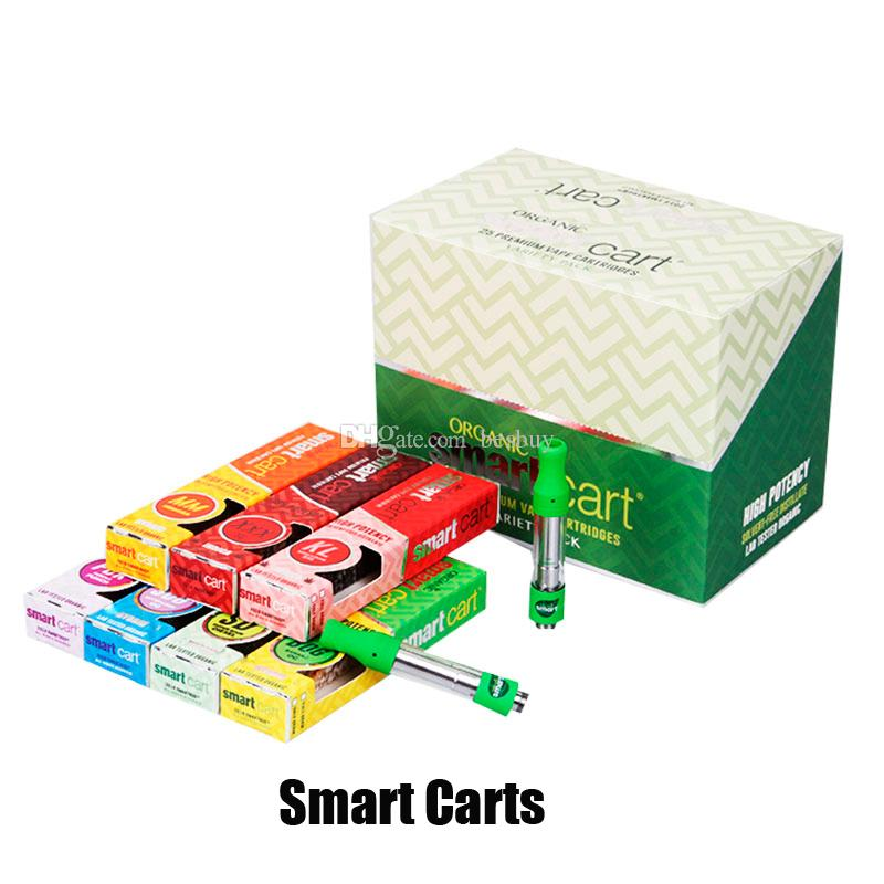 New LOGO Smart Carts Vape Cartridges Gift box Package Green SmartCart 1.0ml Glass Tank 510 Thread Thick Oil Atomizer No Leakage Vaporizer
