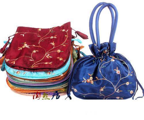 wholesale Embroidered Flower New Fashion Women Silk Satin Purse Jewelry Bag Handbag 10PCS