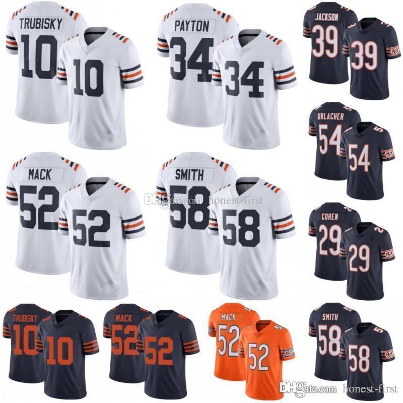 more photos e89d0 6fdaa Chicago Bears 34 Walter Payton 52 Khalil Mack 10 Mitchell Trubisky Jersey  89 Mike Ditka 58 Roquan Smith 29 Tarik Cohen Jerseys 100th