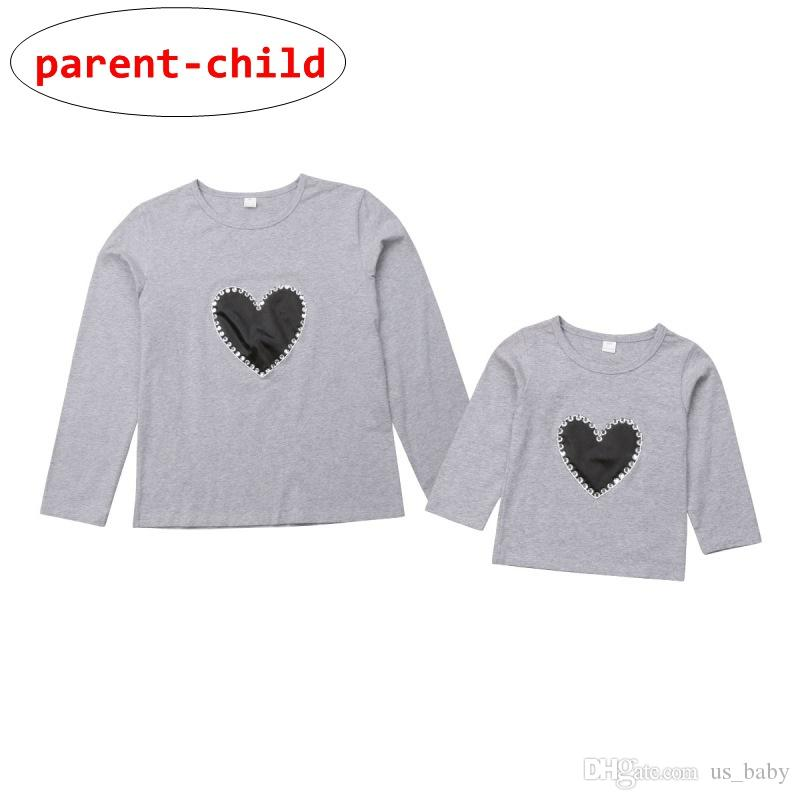 Parent-Child matching T-Shirt Parents Kids Unisex Love Heart design Tops Pullover Summer Autumn Clothes for 1-6T