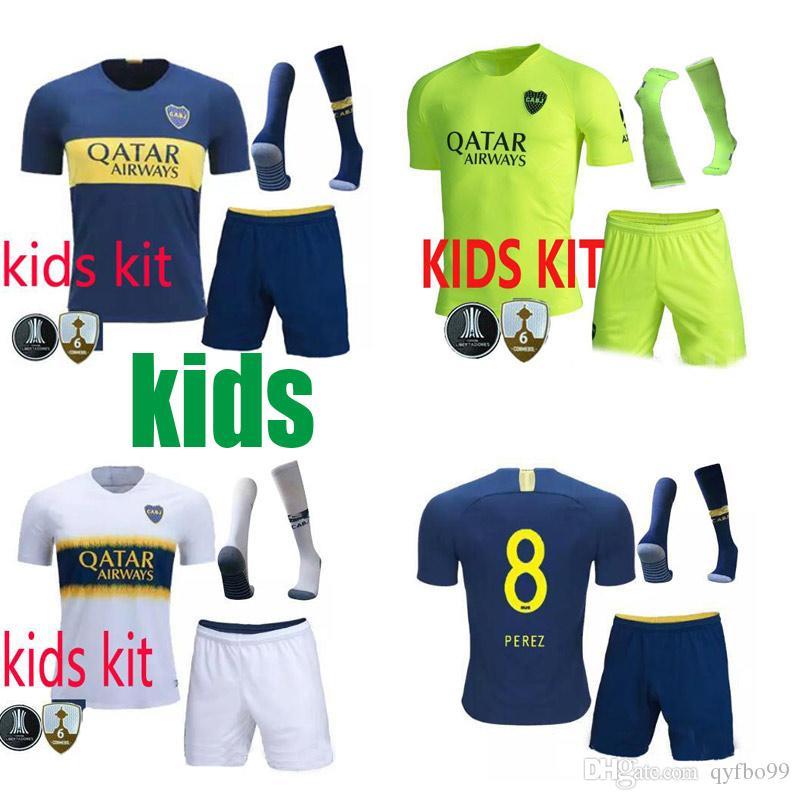 outlet store 0acd5 aa2a5 18 19 Boca Juniors tercer kit de niños Camisetas de fútbol Uniformes kits  de niños Calidad tailandesa Jersey de fútbol TEVEZ CARDONA 19 20 camiseta  ...